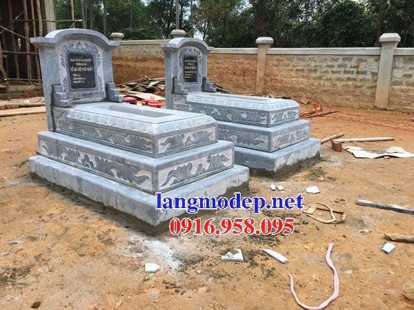 Mẫu mộ đá xanh đen tam cấp thiết kế hiện đại đẹp