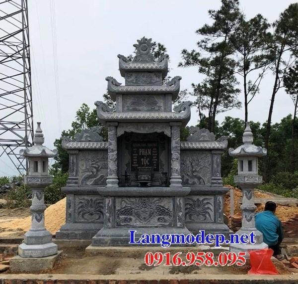 61 Mẫu củng kỳ đài thờ chung khu lăng mộ gia đình dòng họ bằng đá xanh Thanh Hóa đẹp tại Tiền Giang