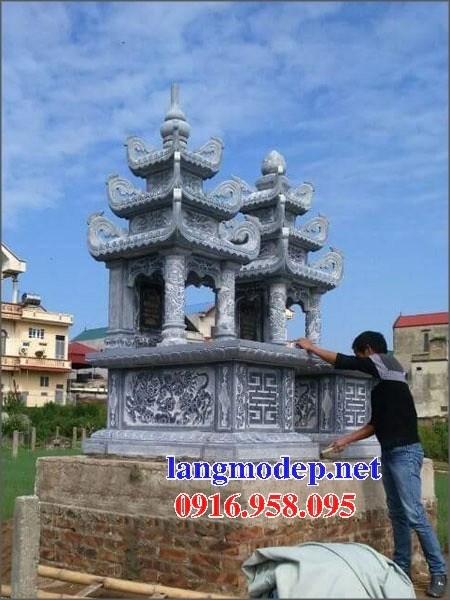 61 Mẫu mộ ba mái bằng đá chạm khắc hoa văn đẹp tại Tiền Giang
