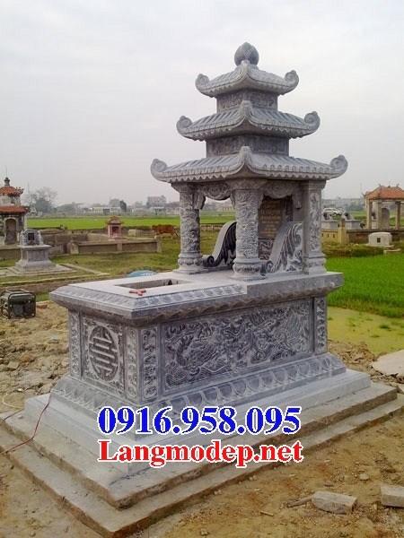 72 Mẫu mộ ba mái bằng đá điêu khắc long phụng đẹp bán tại Trà Vinh