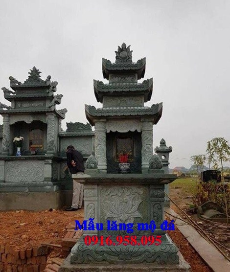 93 Mẫu mộ đá xanh rêu nguyên khối đẹp bán tại Ninh Bình