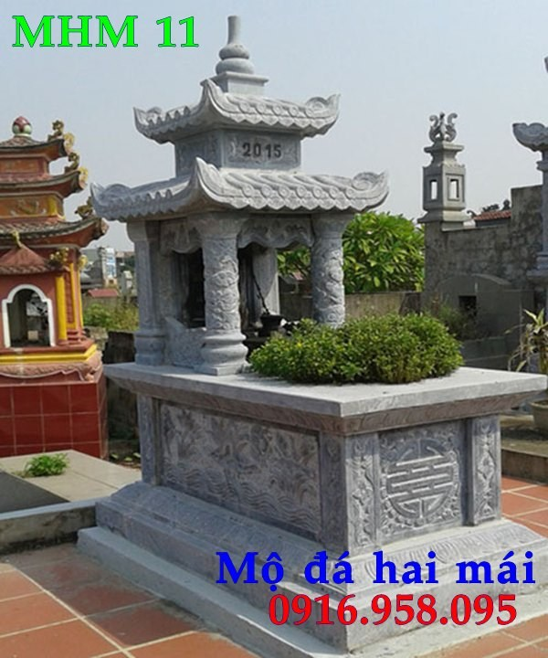 93 Mẫu mộ hai mái bằng đá chạm khắc hoa văn đẹp bán tại Ninh Bình