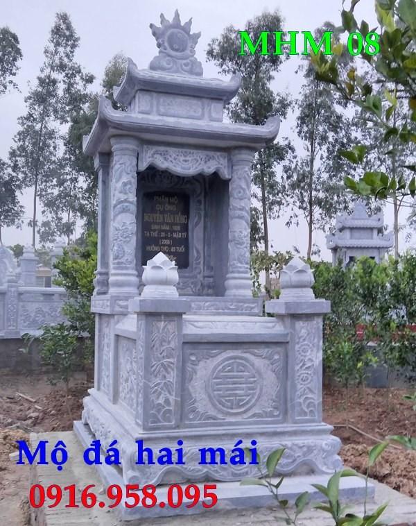 93 Mẫu mộ hai mái bằng đá thiết kế đẹp bán tại Ninh Bình