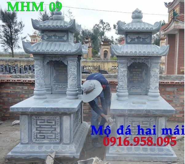 93 Mẫu mộ hai mái bằng đá xanh Thanh Hóa đẹp bán tại Ninh Bình