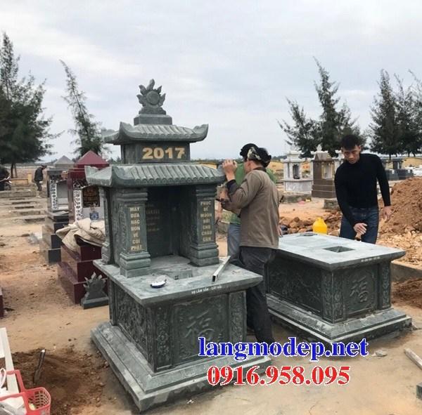 93 Mẫu mộ hai mái bằng đá xanh rêu đẹp bán tại Ninh Bình