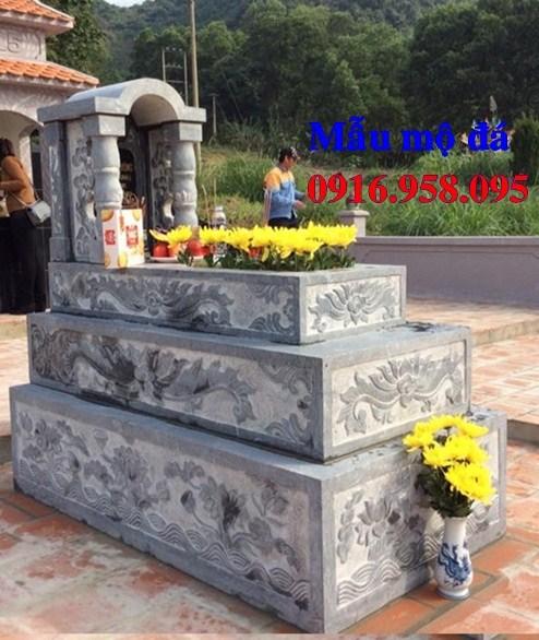 93 Mẫu mộ tam cấp bằng đá chạm khắc hoa văn đẹp bán tại Ninh Bình