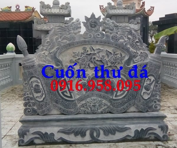 86 Mẫu cuốn thư bức bình phong nhà thờ họ đình đền chùa miếu khu lăng mộ bằng đá chạm khắc tinh xảo tại Tuyên Quang