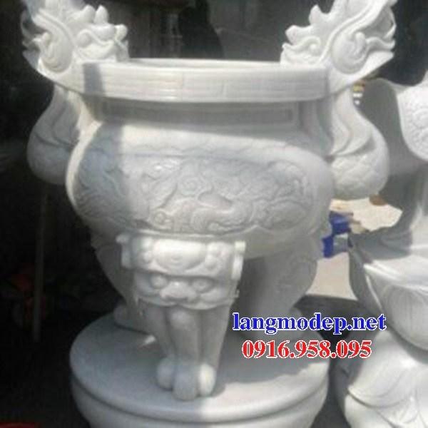 86 Mẫu lư hương đỉnh đèn nhà thờ họ đình đền chùa miếu khu lăng mộ bằng đá trắng tại Tuyên Quang