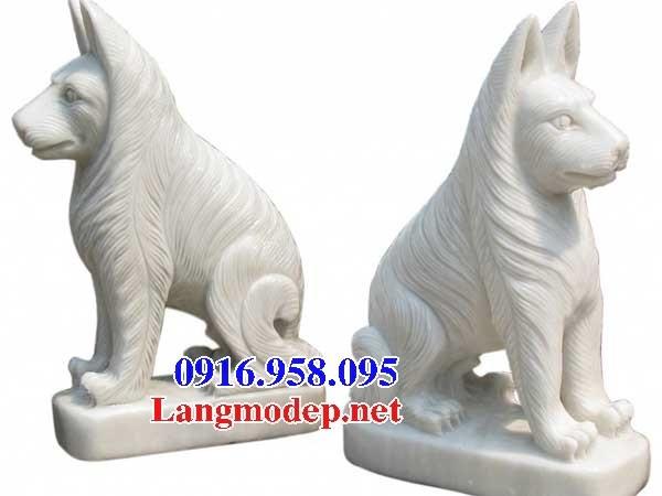 86 Mẫu tượng chó phong thủy nhà thờ họ đình đền chùa miếu khu lăng mộ bằng đá trắng tại Tuyên Quang