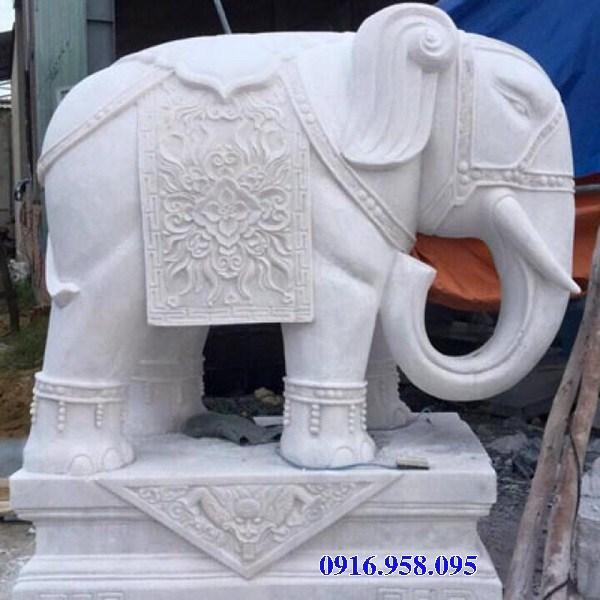 86 Mẫu tượng voi phong thủy nhà thờ họ đình đền chùa miếu khu lăng mộ bằng đá trắng tại Tuyên Quang