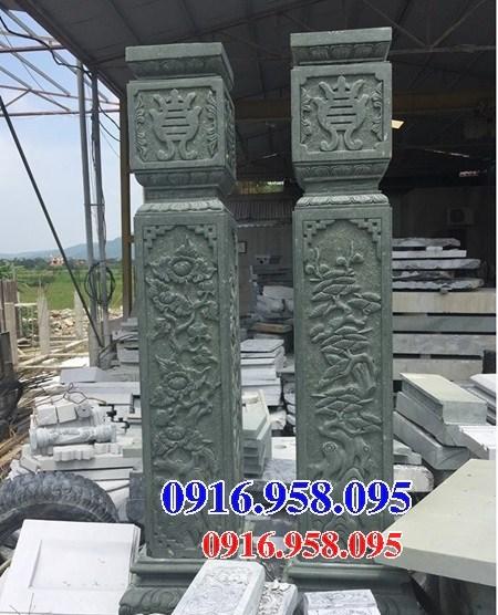 88 Mẫu cột đá cột đồng trụ nhà thờ họ đình đền chùa miếu khu lăng mộ bằng đá xanh rêu tại Thái Bình