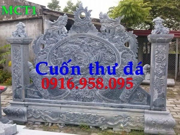 92 Mẫu Hình ảnh cuốn thư bức bình phong nhà thờ họ đình đền chùa miếu khu lăng mộ bằng đá tại Phú Thọ