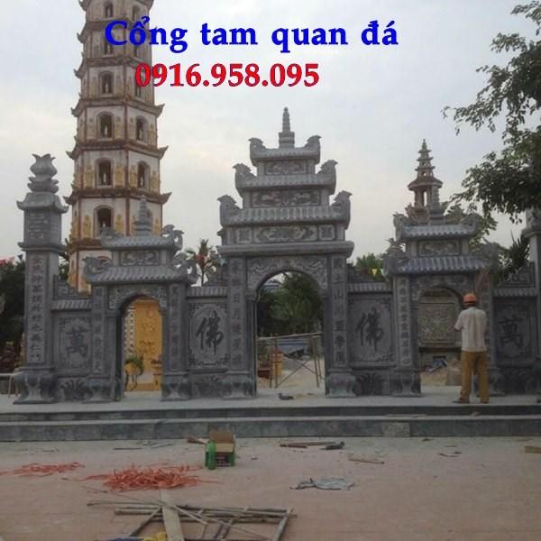 92 Mẫu cổng tam quan nhà thờ họ đình đền chùa miếu khu lăng mộ bằng đá chạm khắc tinh xảo tại Phú Thọ