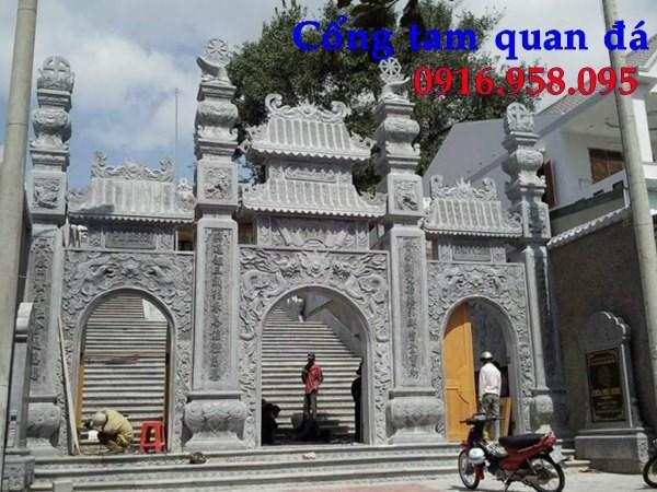 92 Mẫu cổng tam quan nhà thờ họ đình đền chùa miếu khu lăng mộ bằng đá thiết kế đẹp tại Phú Thọ