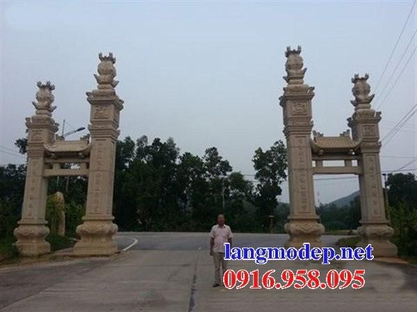92 Mẫu cổng tam quan nhà thờ họ đình đền chùa miếu khu lăng mộ bằng đá vàng tại Phú Thọ
