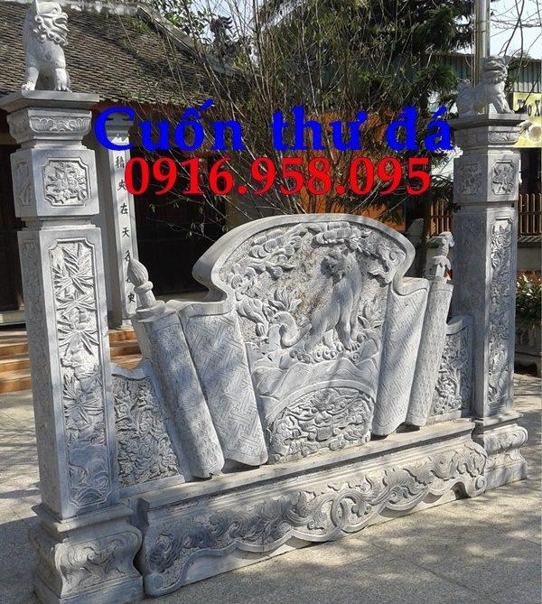 92 Mẫu cuốn thư bức bình phong nhà thờ họ đình đền chùa miếu khu lăng mộ bằng đá thiết kế hiện đại tại Phú Thọ