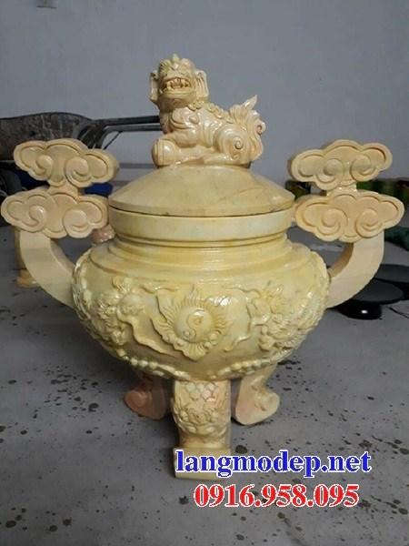 92 Mẫu lư hương đỉnh đèn nhà thờ họ đình đền chùa miếu khu lăng mộ bằng đá vàng tại Phú Thọ