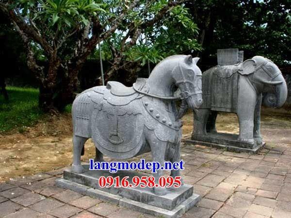 92 Mẫu ngựa phong thủy nhà thờ họ đình đền chùa miếu khu lăng mộ bằng đá thiết kế cơ bản tại Phú Thọ