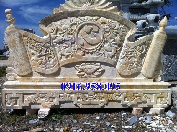 95 Mẫu cuốn thư bức bình phong nhà thờ họ đình đền chùa miếu khu lăng mộ bằng đá vàng tại Lào Cai