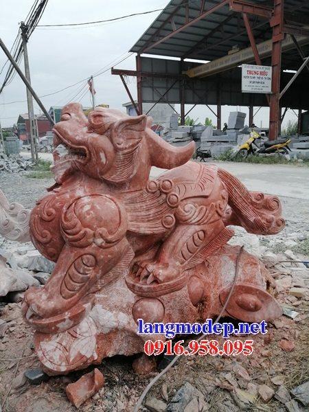 95 Mẫu tỳ hưu phong thủy nhà thờ họ đình đền chùa miếu khu lăng mộ bằng đá đỏ tại Lào Cai