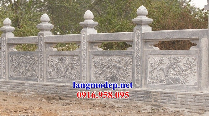 110 Mẫu lan can tường rào nhà thờ họ đình đền chùa miếu khu lăng mộ bằng đá chạm trổ tứ quý tại Quảng Trị
