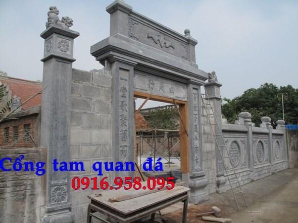 Mẫu cổng nhà thờ họ đình đền chùa miếu bằng đá Ninh Bình tại Tiền Giang