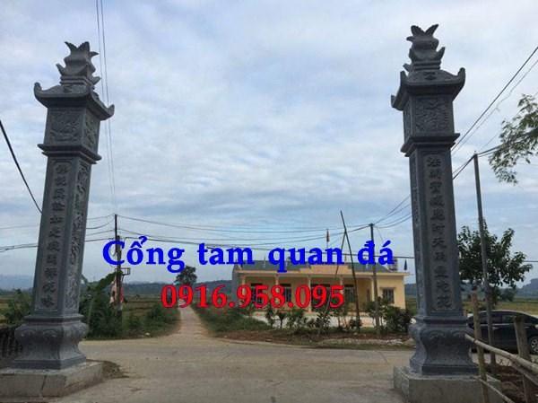 Mẫu cổng nhà thờ họ đình đền chùa miếu bằng đá nguyên khối tại Tiền Giang