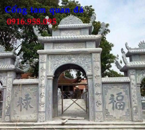 Mẫu cổng nhà thờ họ đình đền chùa miếu bằng đá tự nhiên tại Tiền Giang