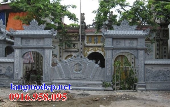 Mẫu cổng nhà thờ họ đình đền chùa miếu bằng đá xanh tại Trà Vinh