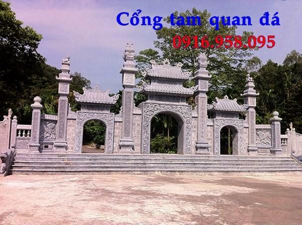 Mẫu cổng tam quan nhà thờ họ đình đền chùa miếu bằng đá Ninh Bình tại Tiền Giang