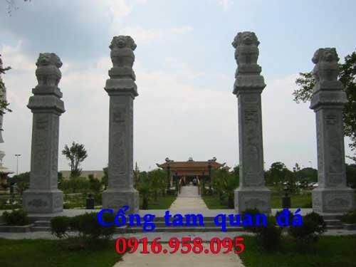 Mẫu cổng tam quan nhà thờ họ đình đền chùa miếu bằng đá Ninh Bình tại Trà Vinh