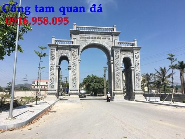 Mẫu cổng tam quan nhà thờ họ đình đền chùa miếu bằng đá chạm khắc tinh xảo tại Tiền Giang