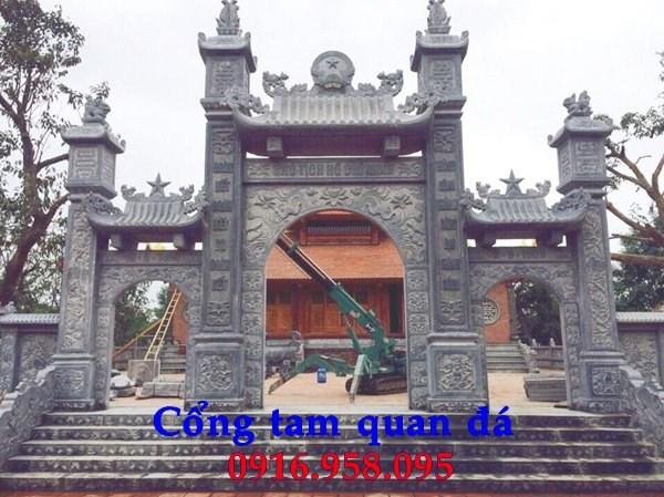 Mẫu cổng tam quan nhà thờ họ đình đền chùa miếu bằng đá tại Trà Vinh