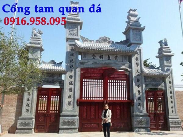 Mẫu cổng tam quan nhà thờ họ đình đền chùa miếu bằng đá thiết kế hiện đại tại Tiền Giang