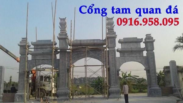 Mẫu cổng tam quan nhà thờ họ đình đền chùa miếu bằng đá thi công lắp đặt tại Tiền Giang