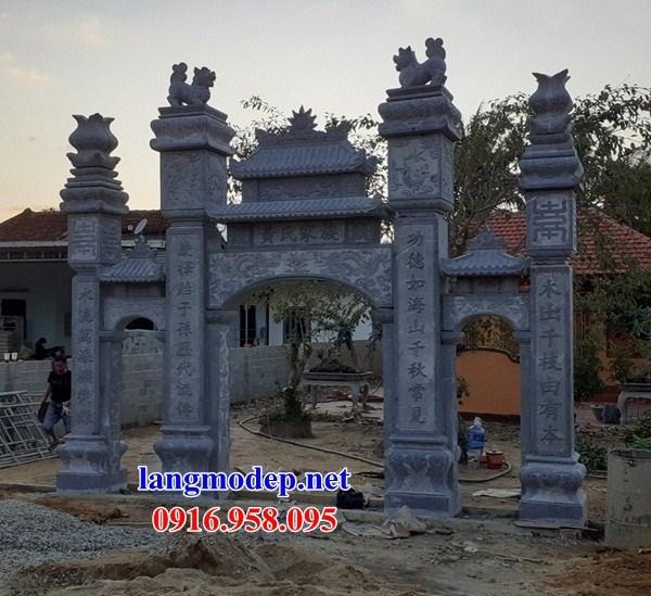Mẫu cổng tam quan nhà thờ họ đình đền chùa miếu khu lăng mộ bằng đá kích thước chuẩn phong thủy tại Trà Vinh