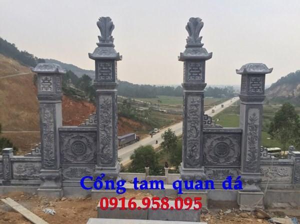 Mẫu cổng tam quan nhà thờ họ đình đền chùa miếu khu lăng mộ bằng đá tại Trà Vinh