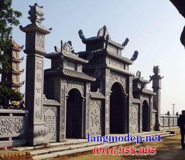 Mẫu cổng tam quan nhà thờ họ đình đền chùa miếu khu lăng mộ bằng đá tự nhiên cao cấp tại Trà Vinh