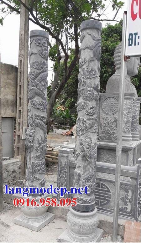 Mẫu cột đá đồng trụ nhà thờ họ đình đền chùa miếu bằng đá điêu khắc long phụng tại Hậu Giang