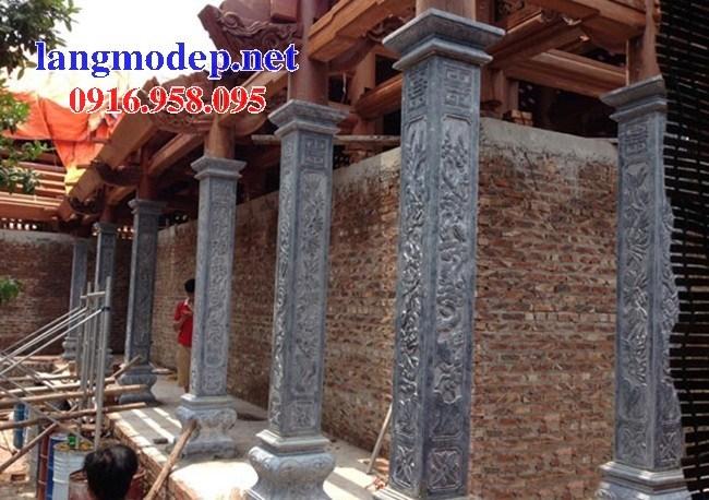 Mẫu cột đá đồng trụ nhà thờ họ đình đền chùa miếu bằng đá điêu khắc rồng phượng tại Bắc Kạn