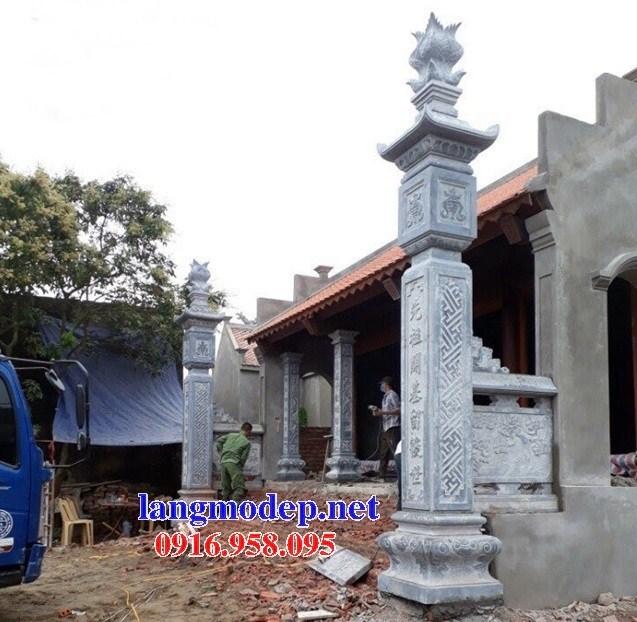 Mẫu cột đá đồng trụ nhà thờ họ đình đền chùa miếu bằng đá Thanh Hóa tại Trà Vinh