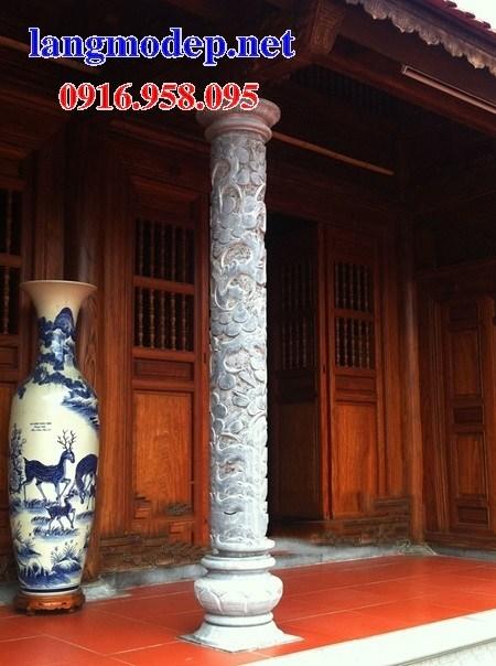 Mẫu cột đá đồng trụ nhà thờ họ đình đền chùa miếu bằng đá chạm khắc tinh xảo tại Cà Mau