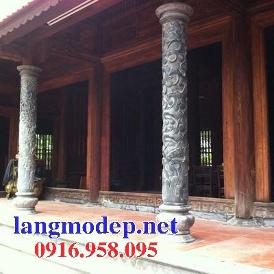 Mẫu cột đá đồng trụ nhà thờ họ đình đền chùa miếu bằng đá chạm khắc tinh xảo tại Hậu Giang