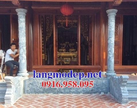 Mẫu cột đá đồng trụ nhà thờ họ đình đền chùa miếu bằng đá chạm khắc tinh xảo tại Trà Vinh