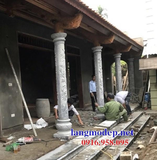 Mẫu cột đá đồng trụ nhà thờ họ đình đền chùa miếu bằng đá chạm trổ tứ quý tại Bắc Kạn