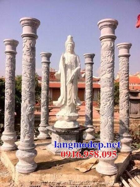 Mẫu cột đá đồng trụ nhà thờ họ đình đền chùa miếu bằng đá chạm trổ tứ quý tại Cần Thơ