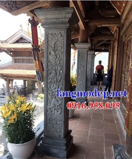 Mẫu cột đá đồng trụ nhà thờ họ đình đền chùa miếu bằng đá chạm trổ tứ quý tại Trà Vinh