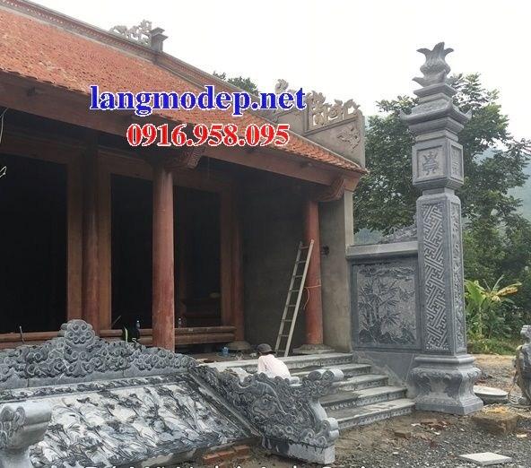 Mẫu cột đá đồng trụ nhà thờ họ đình đền chùa miếu bằng đá nguyên khối tại Cà Mau