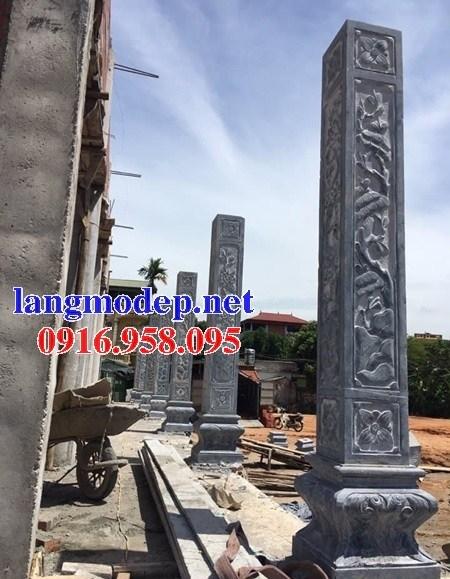 Mẫu cột đá đồng trụ nhà thờ họ đình đền chùa miếu bằng đá nguyên khối tại Hậu Giang