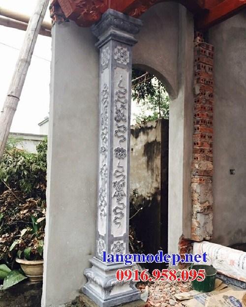Mẫu cột đá đồng trụ nhà thờ họ đình đền chùa miếu bằng đá nguyên khối tại Trà Vinh